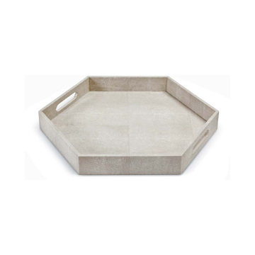 Picture of SHAGREEN HEX TRAY IVORY
