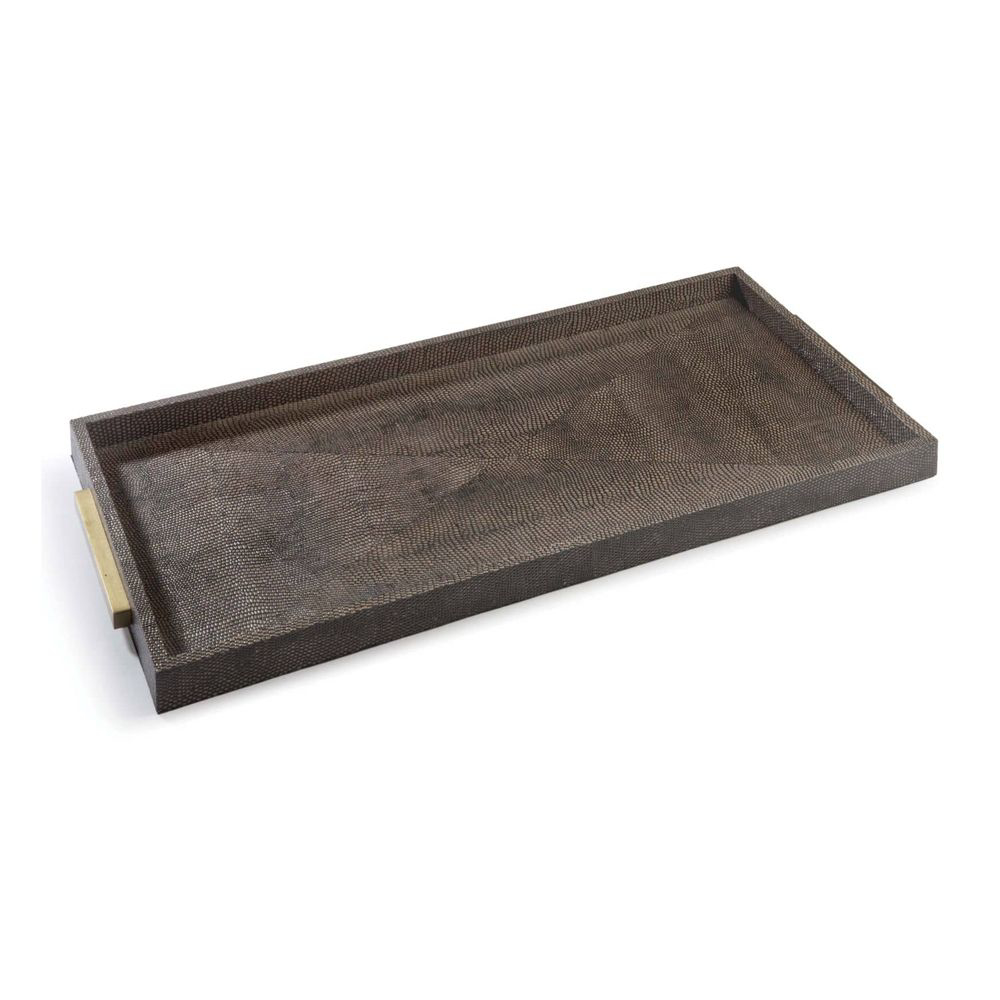 Picture of RECTANGLE SHAGREEN TRAY, BROWN