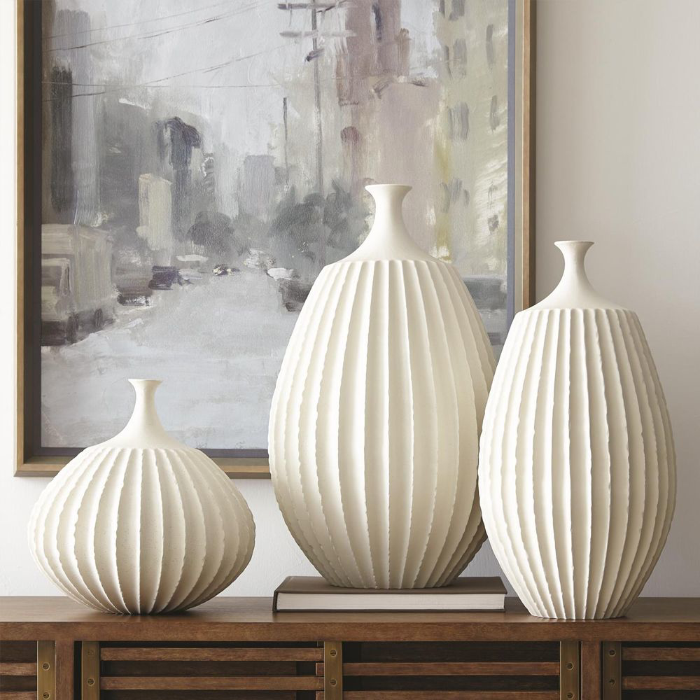 Picture of SAWTOOTH VASE RUSTIC WHITE, LG