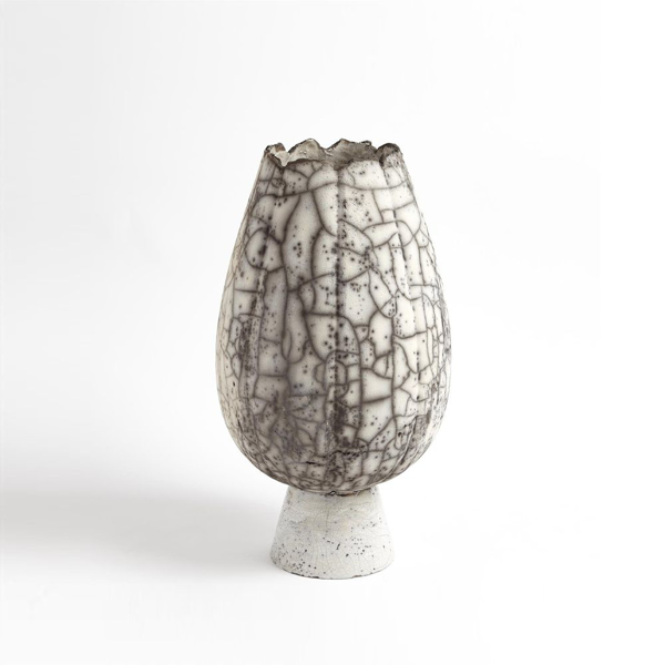 Picture of CRACKLED FOOTED VASES LG, BLK
