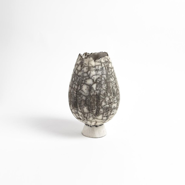 Picture of CRACKLED FOOTED VASES SM, BLK